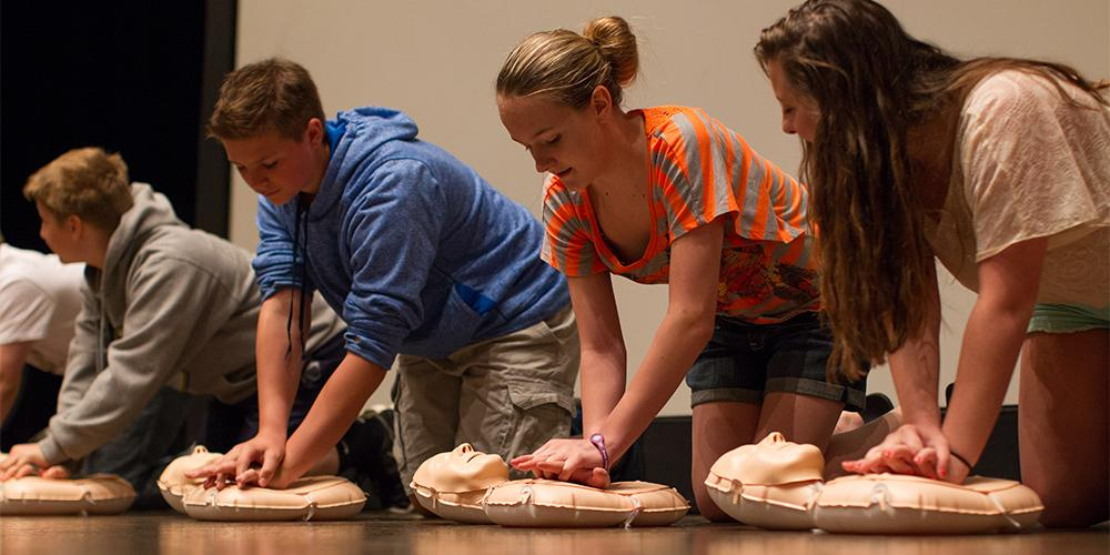 Students from Greensburg Salem Middle School and Valley Middle School learn how to perform CPR through the AHA's CPR Anytime program through two grants from the Now and Forever Fund of The Community Foundation of Westmoreland County.